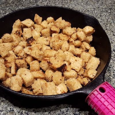 croutons with smoked olive oil